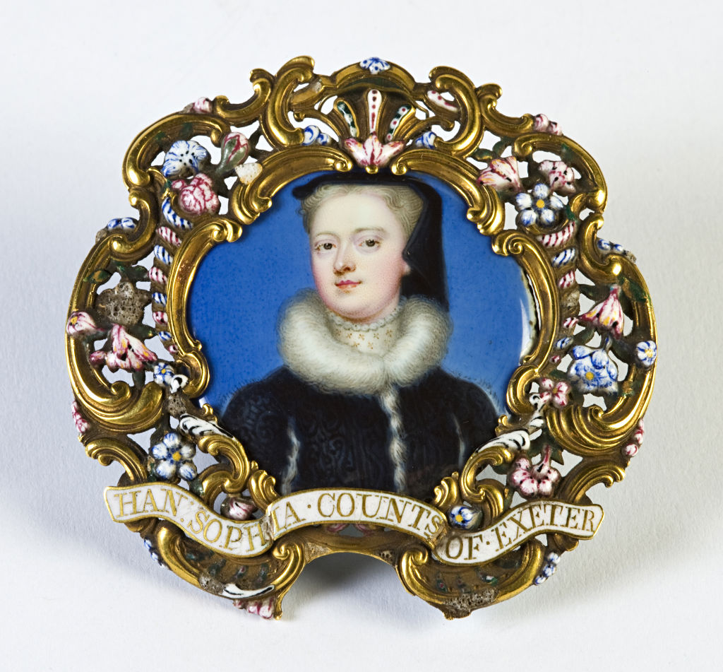 Hannah Sophia, Countess of Exeter, nee Chambers (d. 1765), wife of the 8th Earl of Exeter, School of Christian Friedrich Zincke, circa 1725.