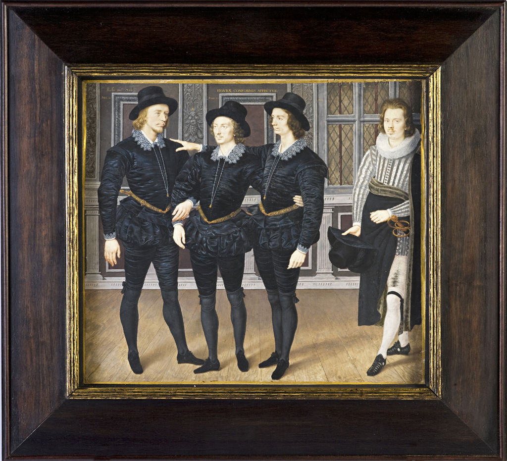 The Three Brothers Browne, by Isaac Oliver, signed with monogram, inscribed and dated 1598.
