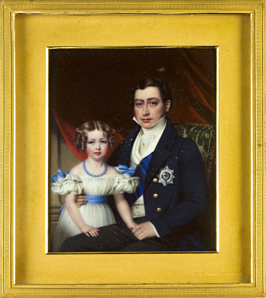A miniature of Brownlow, 2nd Marquess of Exeter, KG and his eldest daughter, Lady Mary Frances Cecil, by Henry Pierce Bone.