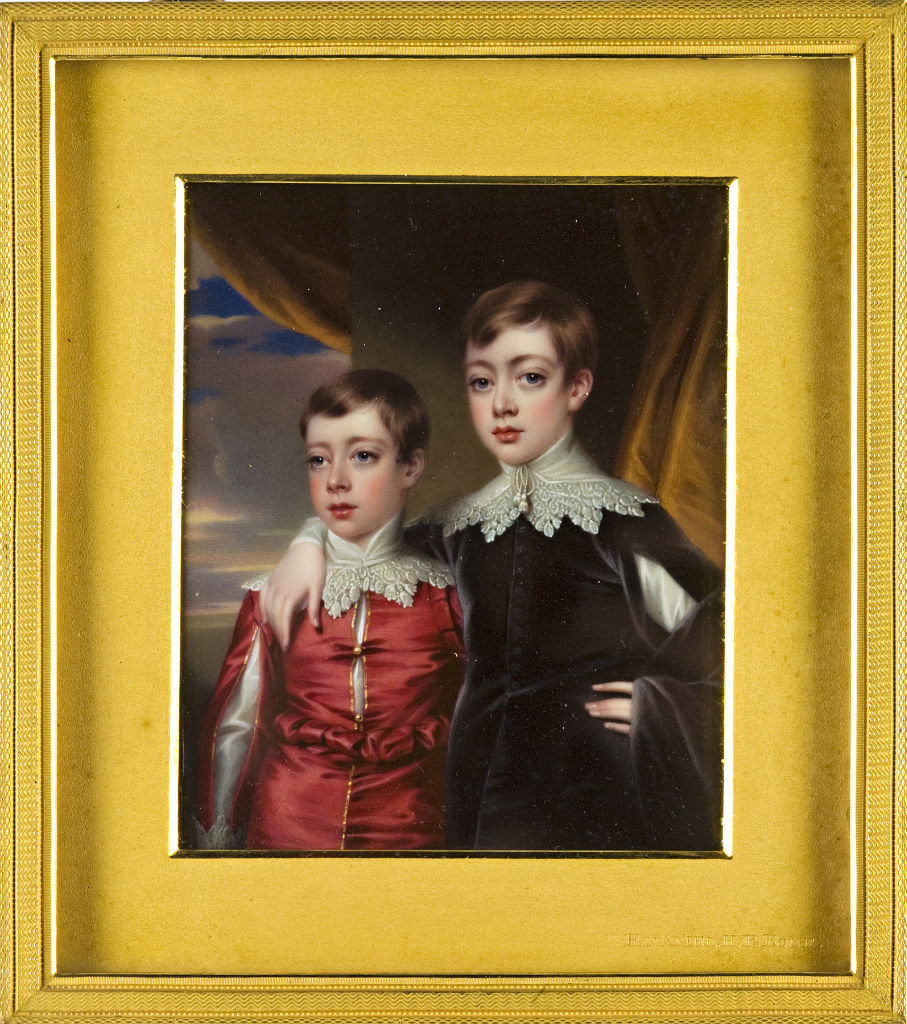 William Alleyne, Lord Burghley, and his younger brother, Lord Brownlow Cecil, by Henry Pierce Bone (1779-1855).