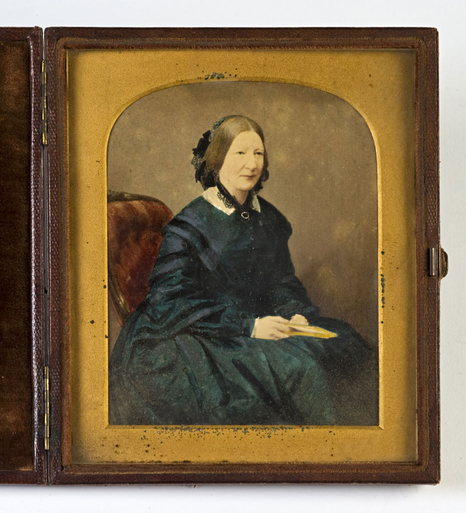 A tinted photograph of a Lady, by Lock and Whitfield, London, circa 1850.