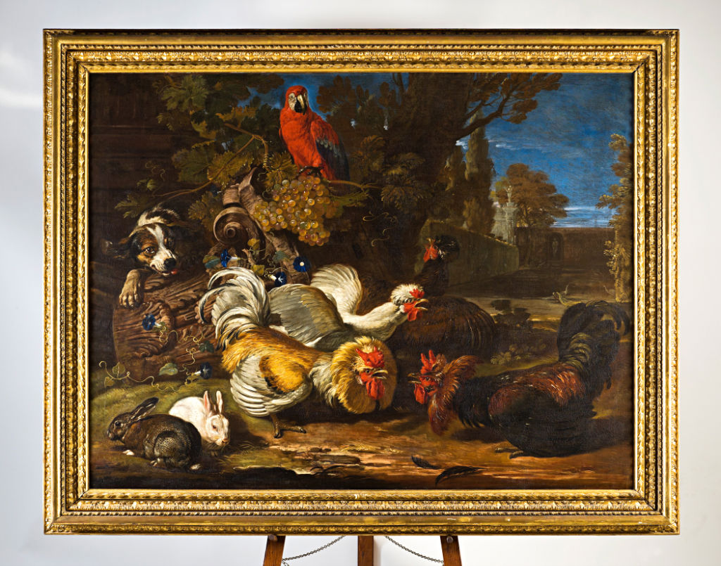 David de Koninck, </br>Cockerels fighting, a Spaniel, a Macaw and Rabbits.