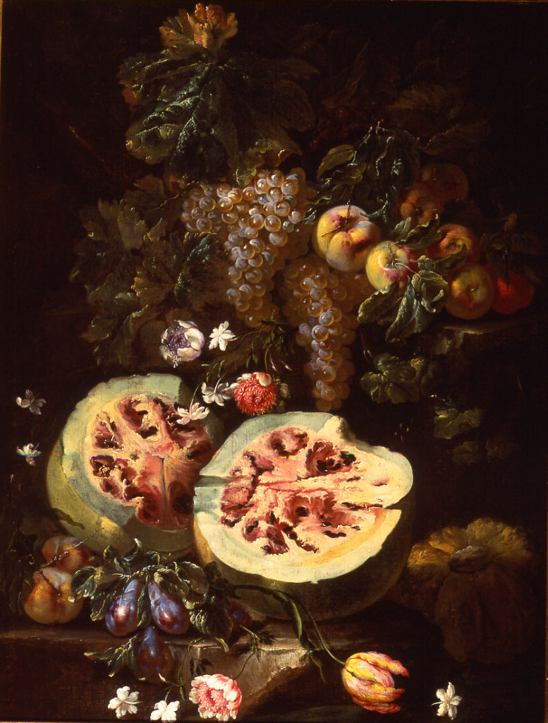 Giovanni Battista Ruoppolo, </br> a Still Life of Fruit with a Melon.