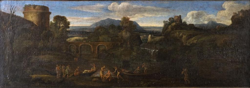 Giovanni Francesco Grimaldi, (1606-1680) </br> 'A Classical Landscape'.