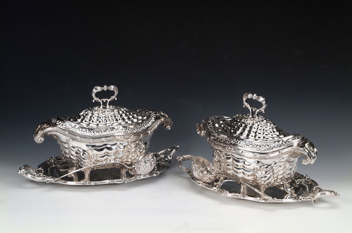 A set of George III oval silver soup tureens, covers and stands, John Parker & Edward Wakelin, London, 1769.