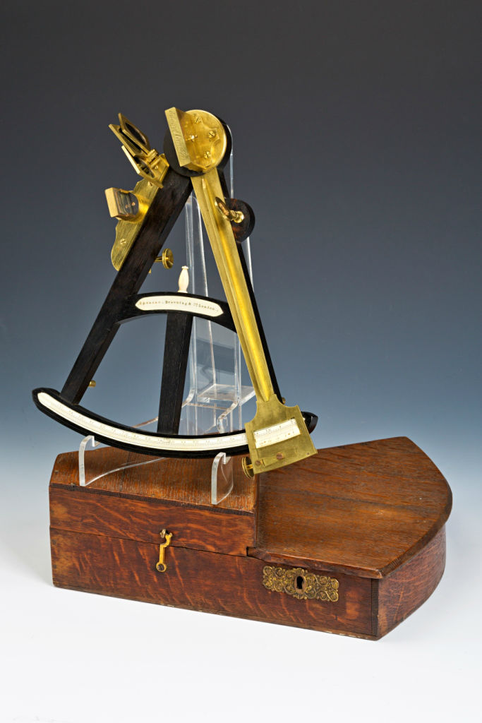 A Naval Sextant, of Ebony, Brass and Ivory, by Spencer, Browning & Co., London, circa 1850.