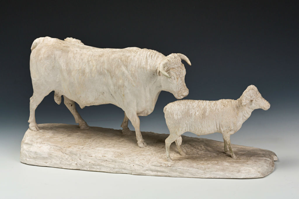 A Plaster Model of a Bull and a Ram by George Garrard (1760-1826), circa 1800.