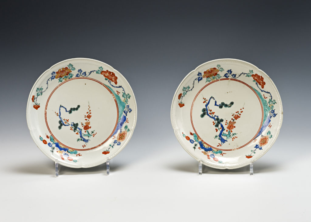 A pair of lobed saucer dishes, late 17th Century.