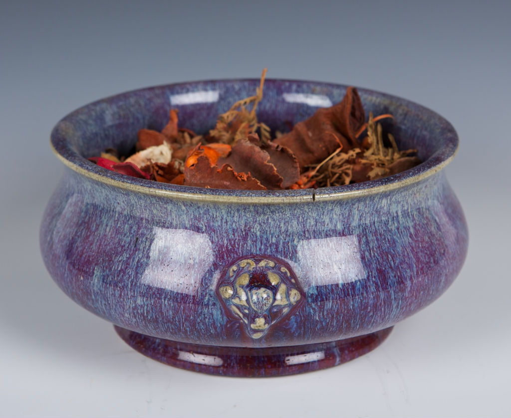 A two-handled flambé circular censer, Qianlong, 18th Century.