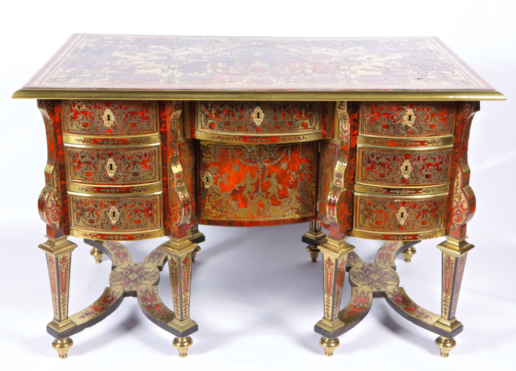 A Louis XIV Boulle and red tortoiseshell bureau Mazarin, late 17th Century.