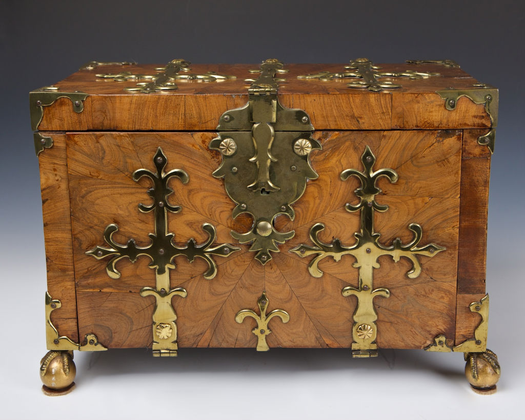 A Franco-Flemish kingwood oyster veneered strong-box, late 17th Century.
