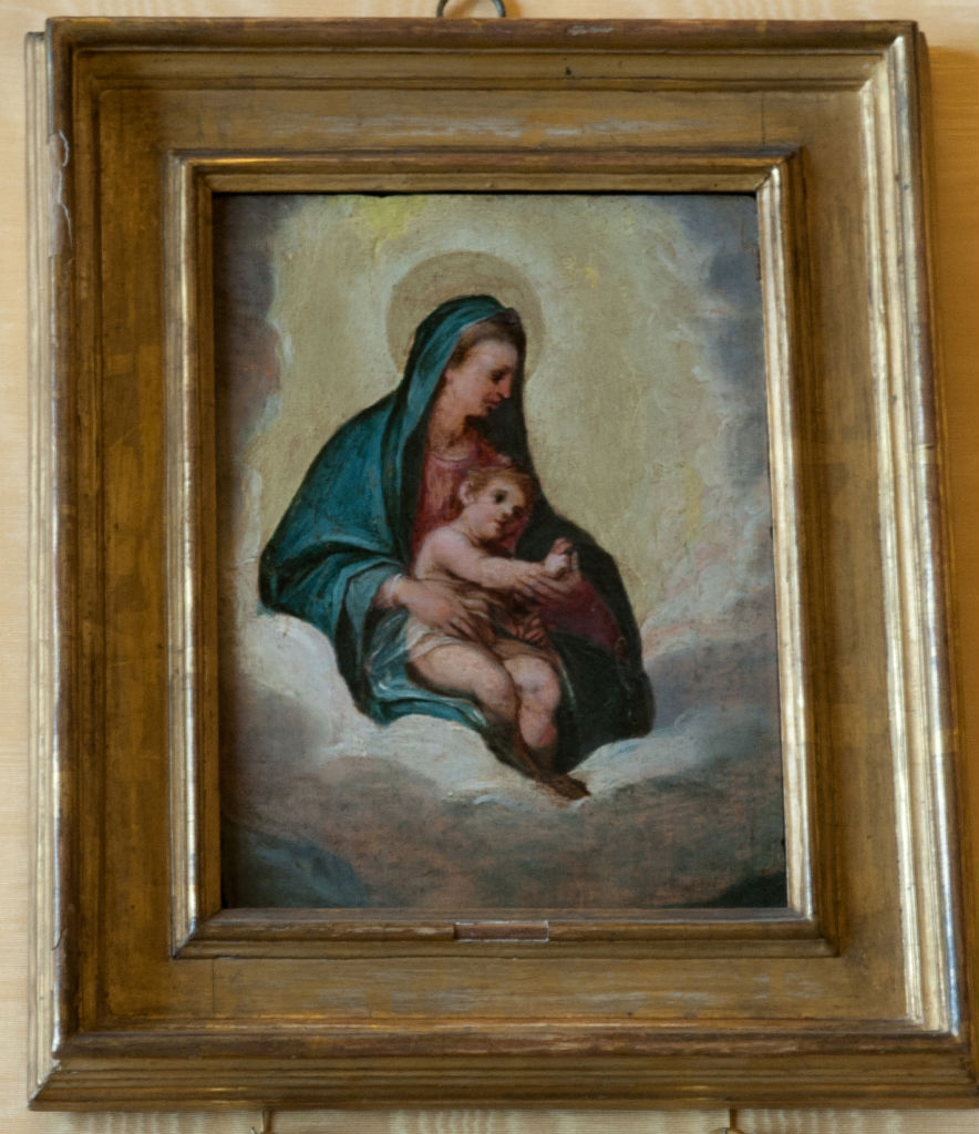 Follower of Ippolito Scarsella called Scarsellino, </br>  Virgin and Child amidst Clouds.