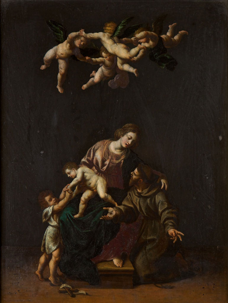 Alessandro Turchi (1578-1649), </br> The Holy Family and Saint Francis.