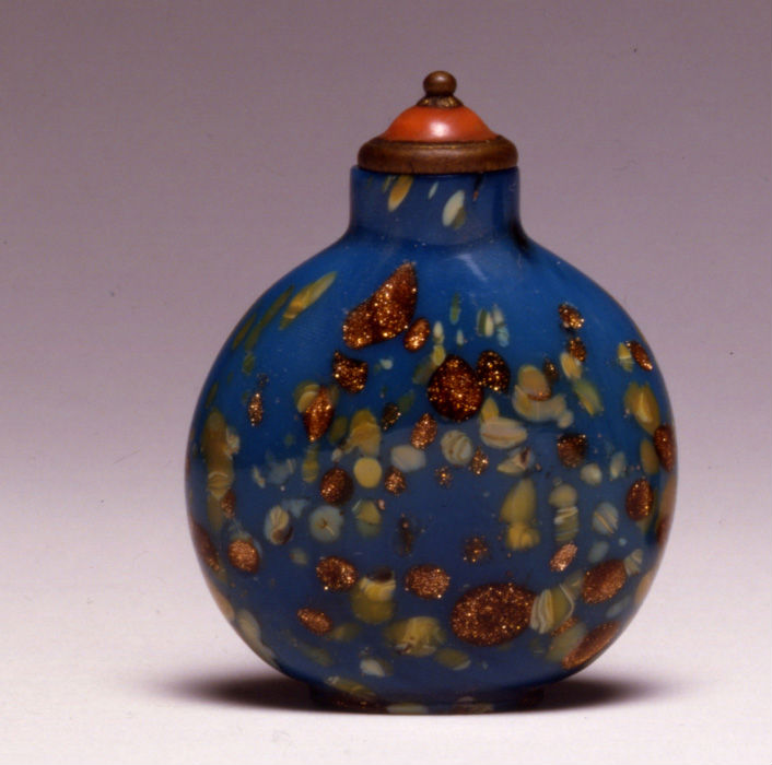 A turquoise glass snuff bottle, 18th Century.