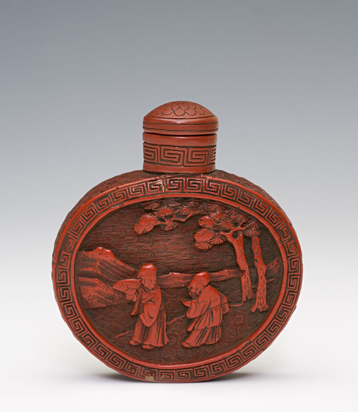 A red lacquer snuff bottle, 1730-1830.