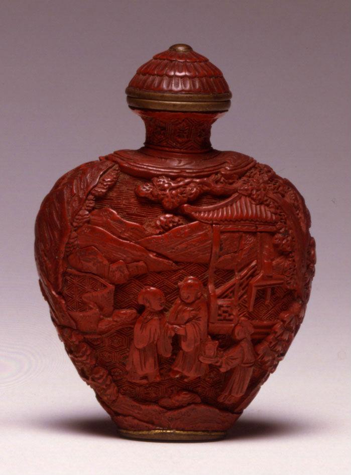 A cinnabar lacquer snuff bottle, Qianlong, (1736-1795).