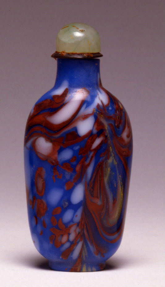 An opaque blue glass snuff bottle, 1780-1850.