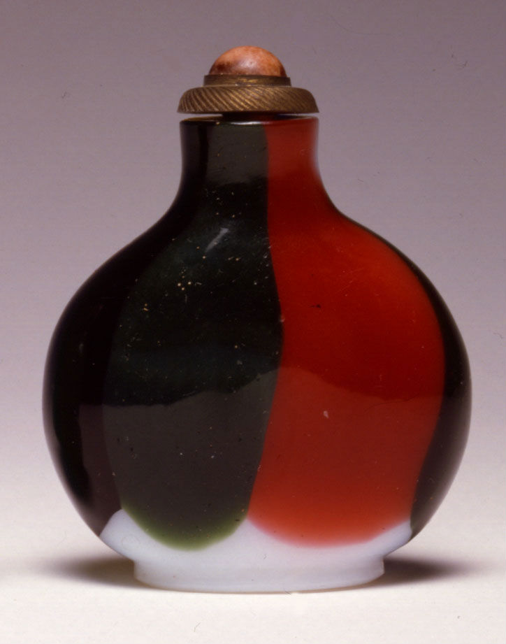 An opaque white glass snuff bottle with multi-coloured overlays, 1800-1860.