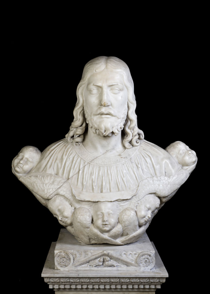 An Italian white marble bust of Christ, school of Torrigiano, early 16th Century.