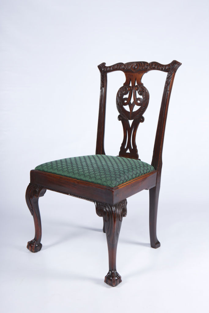 A set of six George II mahogany side chairs, circa 1750.