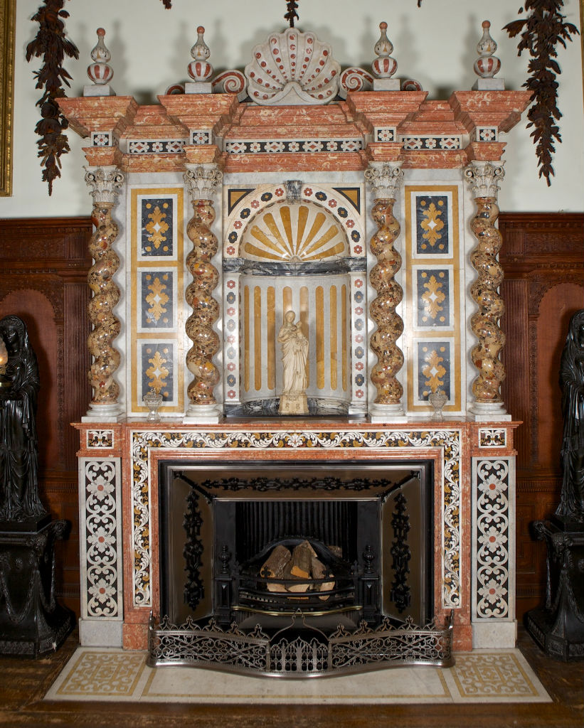 A  marble, inlaid marble and brescia marble mantel and over mantel, 19th Century.