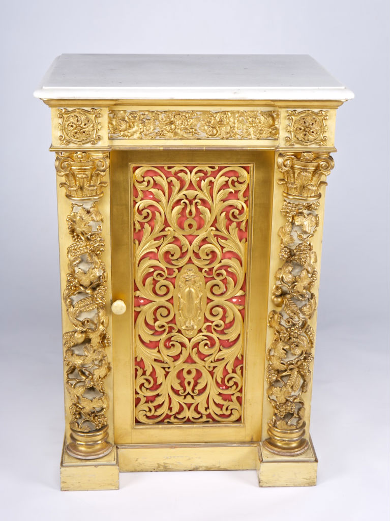 A pair of Victorian painted and parcel-gilt bedside cupboards, circa 1840.