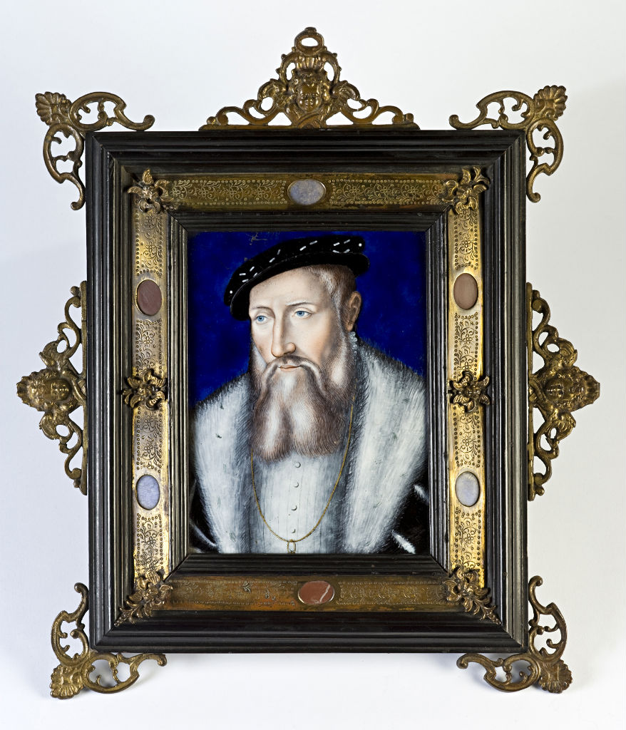 A  Limoges polychrome enamel portrait plaque of Claude de Lorraine, attributed to Leonard Limousin (active 1532-1575).