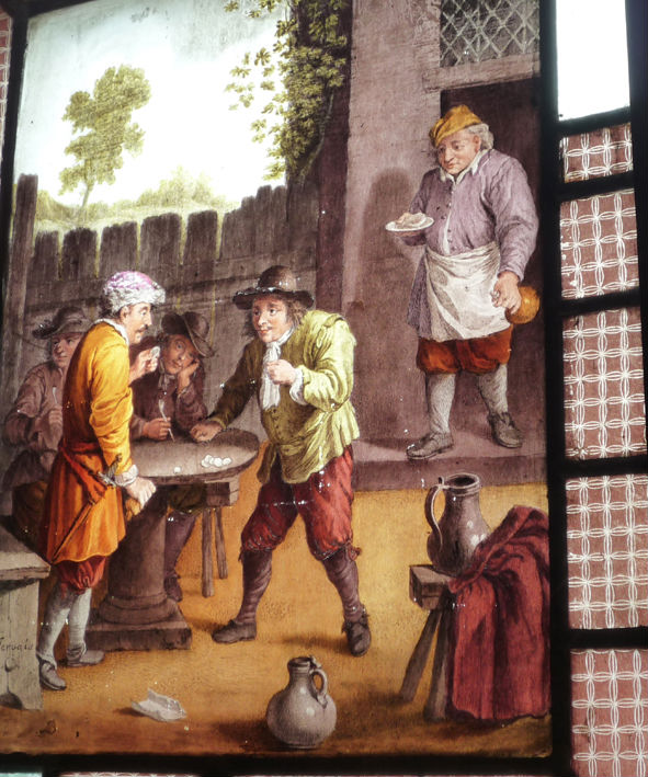 A stained glass picture of a genre scene, after Teniers.