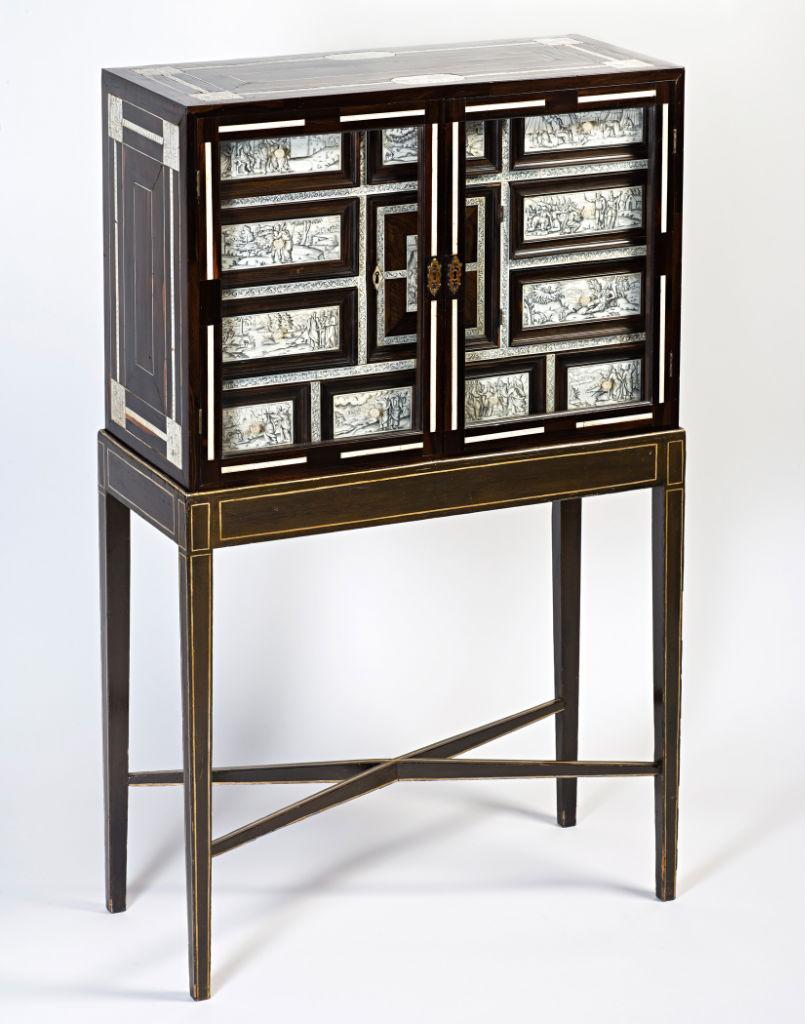 An Italian ivory-inlaid ebony cabinet, Neapolitan, mid 17th Century.