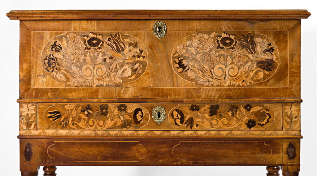 An unusual Dutch floral marquetry chest, circa 1680.