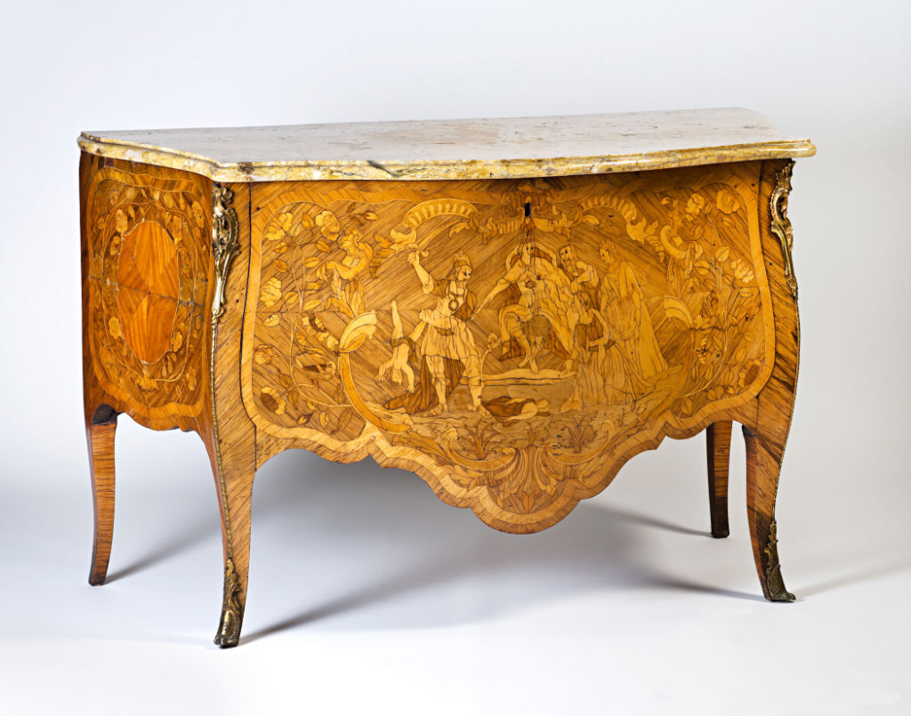 A Portuguese bombé marquetry commode, mid 18th Century.