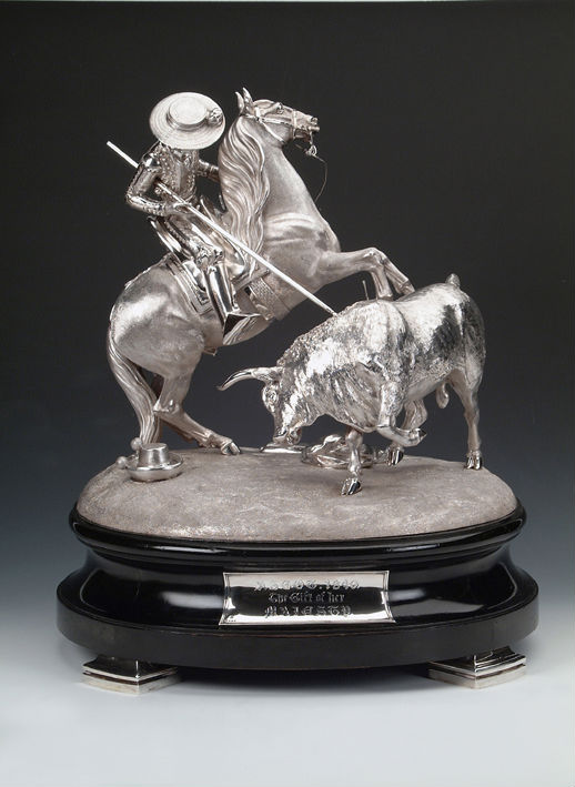 A Victorian centrepiece in the form of a mounted picador and bull, Robert Garrard, London, 1848.