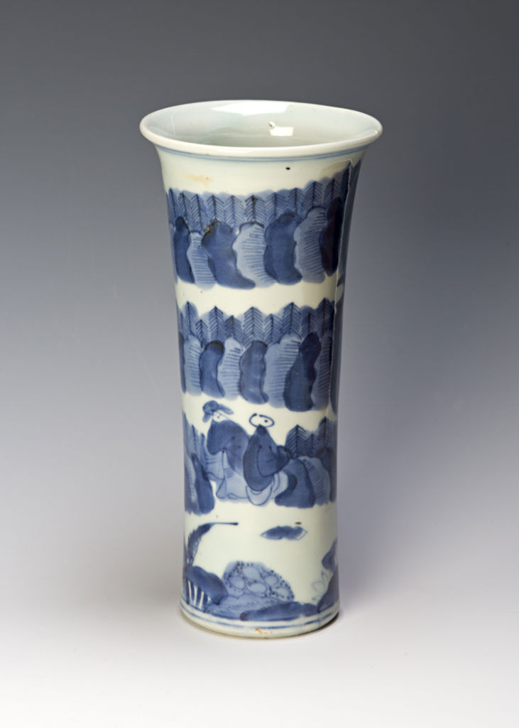 A blue and white beaker, Chinese, circa 1660/80.