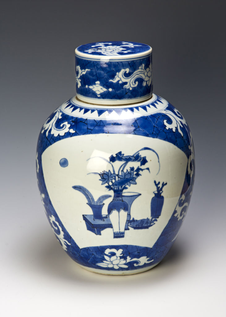 An oviform jar and cover, Chinese, circa 1640/50.