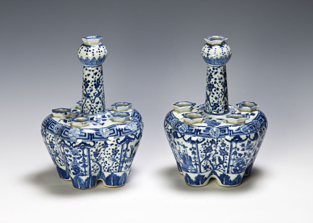 A pair of blue and white tulip vases, Chinese, late 19th Century.