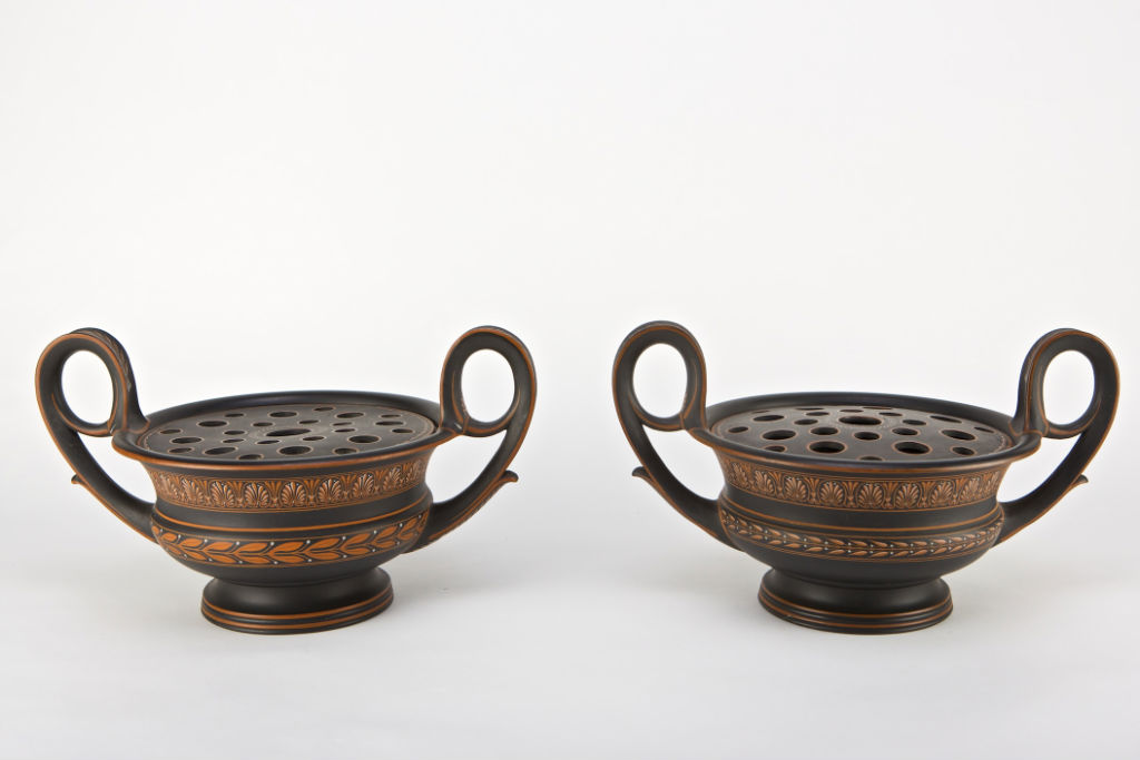 A pair of Wedgwood black basaltes 'krater' vases, late 18th Century.
