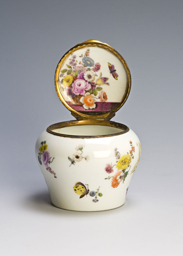 A squat-shaped, gilt-copper mounted Meissen ointment jar, circa 1750-60.