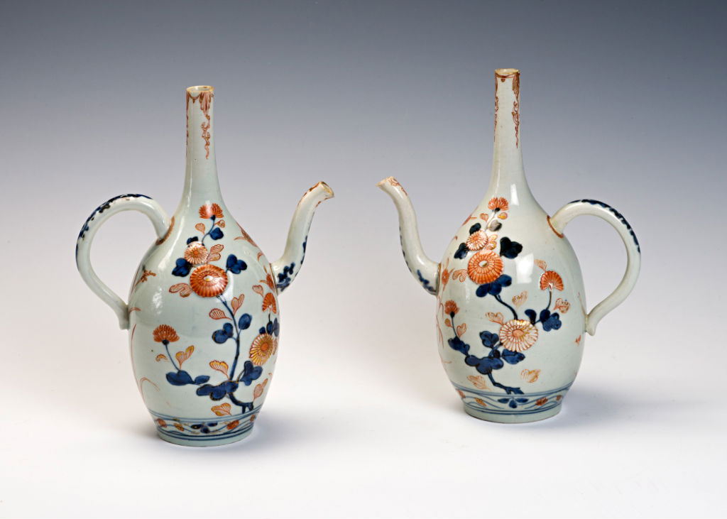 A pair of Japanese Imari oviform ewers, early 18th Century.