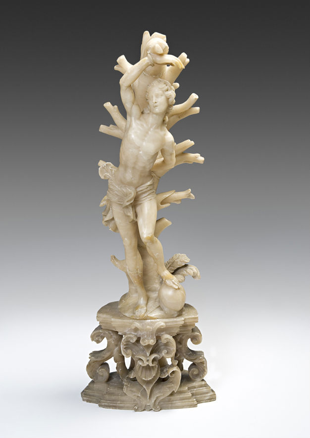 An alabaster group of St. Sebastian, late 17th Century.