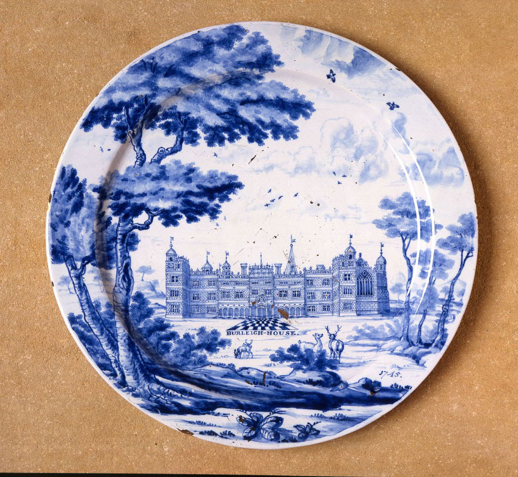 A London Delftware dish, dated 1745.