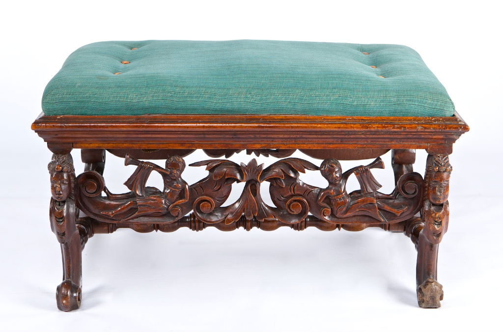 A set of four Anglo Flemish late 17th Century walnut footstools.