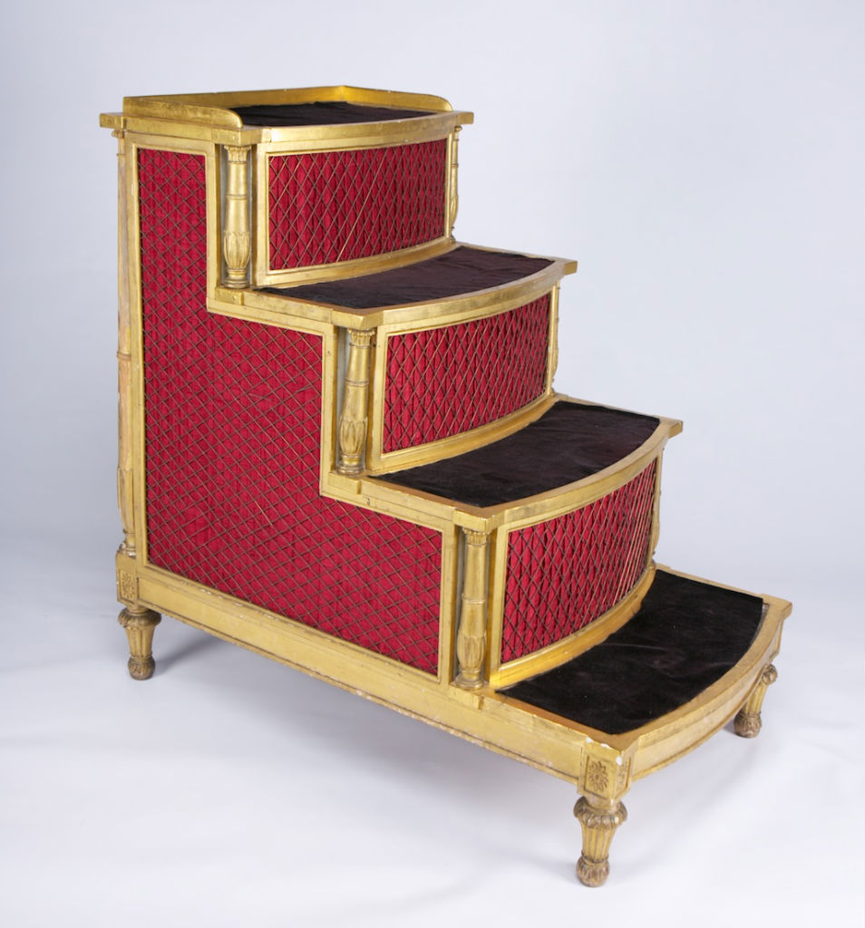 A pair of George III giltwood commode bedsteps, by Fell & Newton, circa 1795.