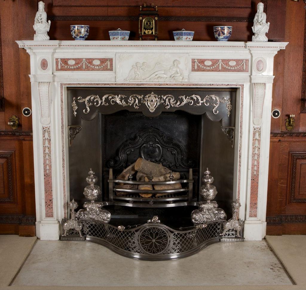 A George III Carrara marble chimneypiece, circa 1780.