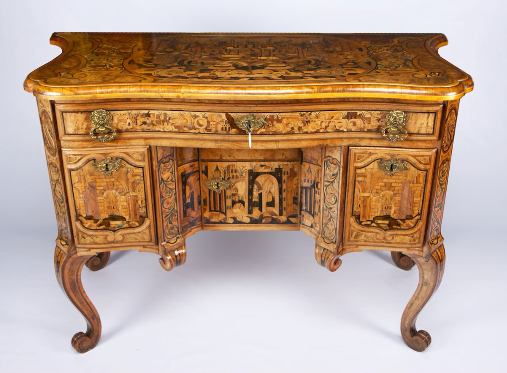 A rare Piedmontese marquetry writing table, in the manner of Pietro Pifetti, mid 18th Century.