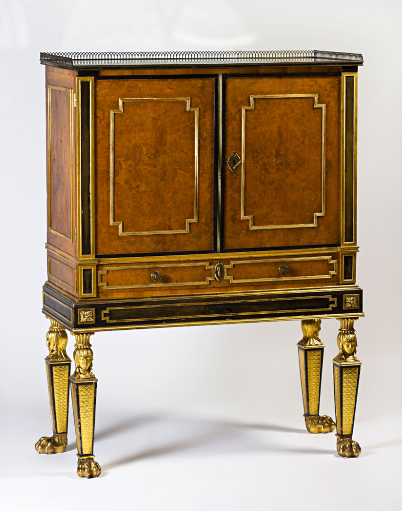 A burr-walnut and parcel-gilt cabinet, the cabinet and stand circa 1795, by Fell & Newton, the interior circa 1700.