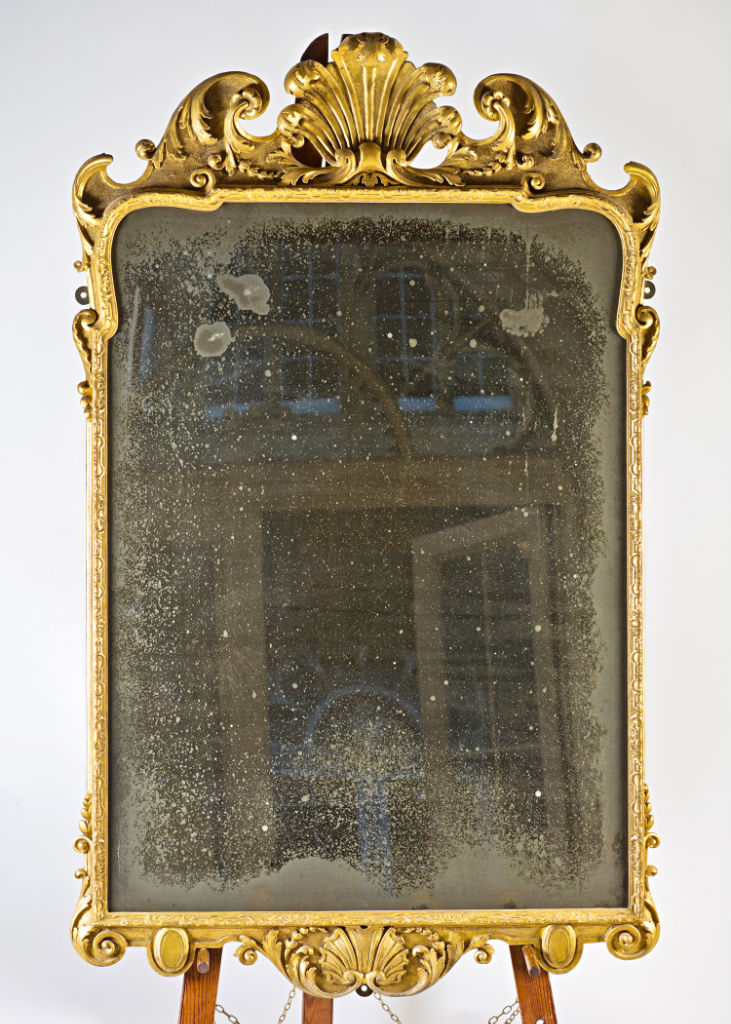 A Queen Anne gilt-gesso wall mirror, circa 1710.