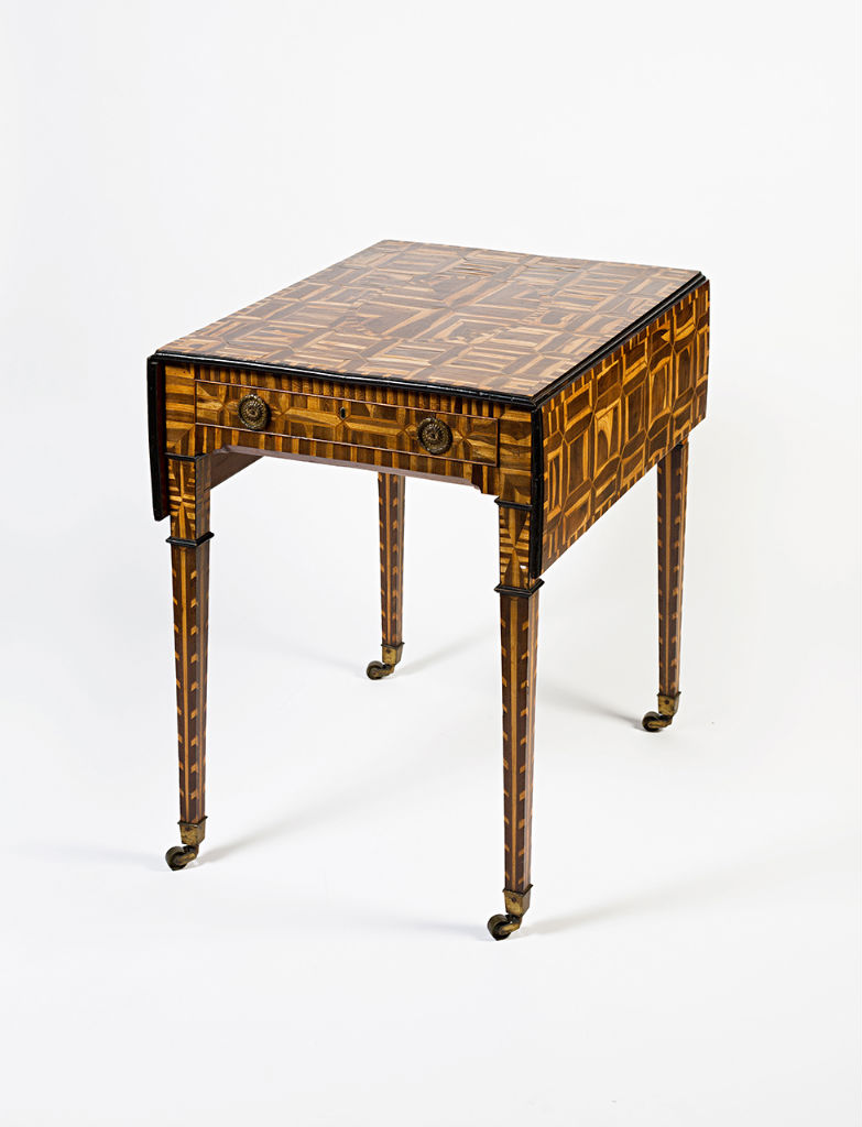 A George III laburnum-veneered Pembroke table, circa 1790.