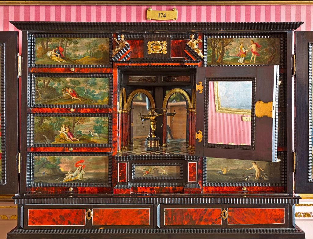 A Flemish tortoiseshell and ebony cabinet, mid 17th Century.