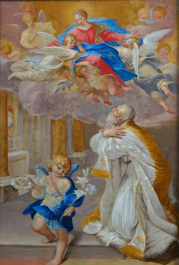The Virgin appearing to St. Filippo Neri, Roman School, circa 1700.