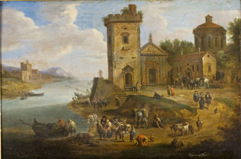 A Quay Scene with Many Figures, Frans Boudewijns, (1682-1767).